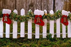 Miniature White Picket Fence with Garland and Christmas Stocking - Fairy Garden Furniture, Miniature Fence, Fairy Garden Accessories