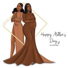 Black Girl Art, Black Art, Black Girl Magic, Art Girl, Happy Mother Day Quotes, Happy Mothers Day, Black Cartoon, Magic Art, Mom Daughter