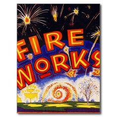 Retro Vintage Kitsch Fireworks Firecracker Sign Postcard