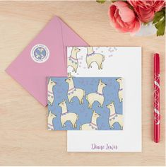 Stationery: Llama Line Up Note Cards- Save the drama for your. An adorable array of llamas makes for a fun & fashionable design you can't help but smile at! Get creative choosing your own color combo & say yes to this playful pattern! Get Well Messages, Personalized Stationery, Journal Covers, Thank You Notes, Custom Cards, Erin Condren, Birthday Greetings, Lineup, Color Combos