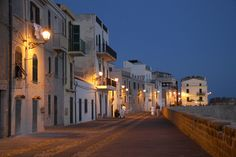 Alghero by night,  Sardinia, Italy