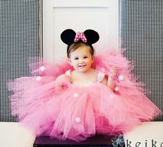 Minnie Mouse Pink Birthday Party Themed Little Baby Girls Tutu Dress, Complete with Mouse Ears on Etsy, $69.99