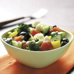 Picnic Vegetable Salad sliced veggies mixed greek vinaigrette or other flavor vinaigrette and feta cheese or other flavor Greek Vegetables, Veggies, Greek Vinaigrette, Vegetable Salad Recipes, Veggie Food, Fresh Broccoli, Cooking Recipes, Healthy Recipes, Cooking Tips