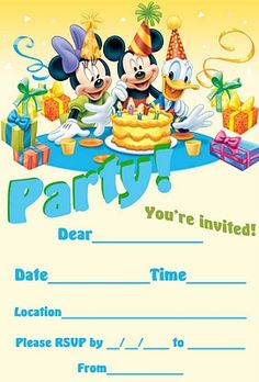 Disney Invite free printable and fill in the blanks with details of your own party - 1000s more on this website too :)
