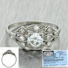 1920s antique art deco platinum #0.72ctw diamond #fishtail #engagement ring egl,  View more on the LINK: http://www.zeppy.io/product/gb/2/302163802954/