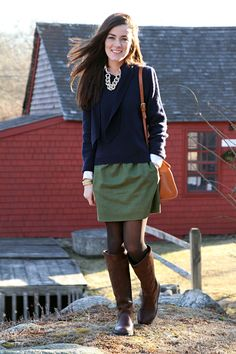 Skirt by J.Crew, necklace by Pink Pineapple, sweater by Mark Cross, boots by Dubarry Clare, bag by Frank Clegg. (February 26, 2012)