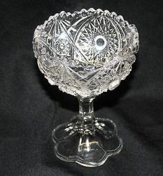 "EAPG Pattern Glass 6.5"" Comport Compote Pedestal Candy Dish Mint"
