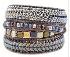 The Bead Table: Herringbone Bracelet Tutorial by Lauren Hartman Leather Bracelet Tutorial, Beaded Bracelets Tutorial, Beaded Wrap Bracelets, Beaded Jewelry, Bohemian Jewelry, Jewelry Bracelets, Beaded Necklace, Bangles, Jewellery