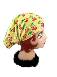 Check out this item in my Etsy shop https://www.etsy.com/listing/237978995/retro-headband-biker-hair-wrap-cherries