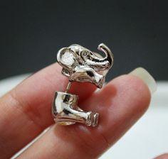 1 par moda bonito ear piercing jóias rosa de ouro preto elephant brincos para mulheres 0302