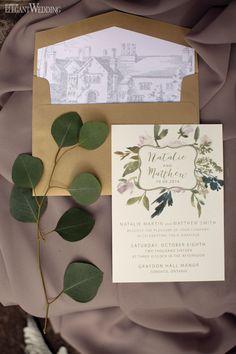 Greenery Wedding Invitations, Tuscan-Inspired Stationery, Lavender Wedding Invites www.elegantwedding.ca