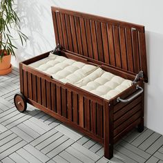 IKEA ÄPPLARÖ storage bench, outdoor Wheels make it easy to move. Outdoor Cushions, Chair Cushions, Outdoor Lounge, Ikea Bank, Wood Supply, Extra Seating, Patio Storage Bench, Balcony Bench, Ikea Storage