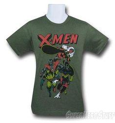 X-Men Retro Dash Sage Heather 30 Single T-Shirt by Superhero Stuff…