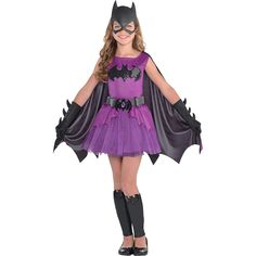 The Purple Batgirl Costume for girls includes a purple Batgirl dress, a Batgirl mask, a black cape, gloves, and leg warmers. She's ready for action in a Batman-themed Purple Batgirl Costume. Girl Superhero Costumes, Dc Comic Costumes, Halloween Costumes For Teens Girls, Batman Costumes, Super Hero Costumes, Girl Costumes, Costume Ideas, Halloween Kids, Batgirl Halloween Costume