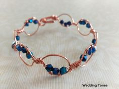 Handmade unique bracelet with copper wire and blue crystals Unique Bracelets, Crystal Bracelets, Handmade Copper, Blue Crystals, Copper Wire, Jewelry, Jewlery, Jewerly, Schmuck