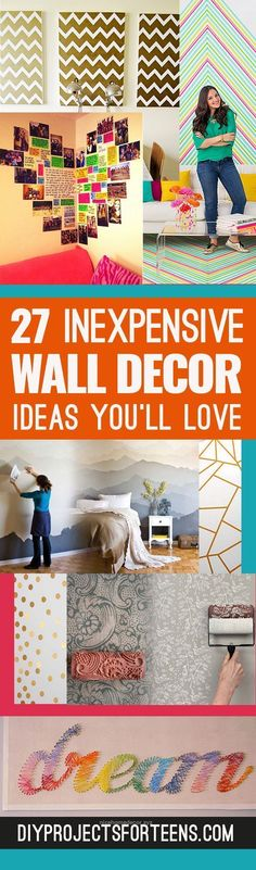 Lovely Cute DIY Wall Art Ideas You'll Love – Creative Room Decor on A Budget for Bedroom, Bath and Family. Teens, Dorms, Kids on a Budget  The post  Cute DIY Wall Art Ideas You'll Lo ..