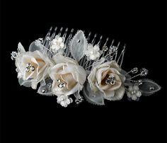 Bloom Champagne Flower Comb, Bridal Hair Flower