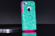 Otterbox iPhone 5c Case Custom Glitter Commuter Wintermint/Pink iPhone 5c Otterbox Sparkly Bling Glitter Case on Etsy, $44.99