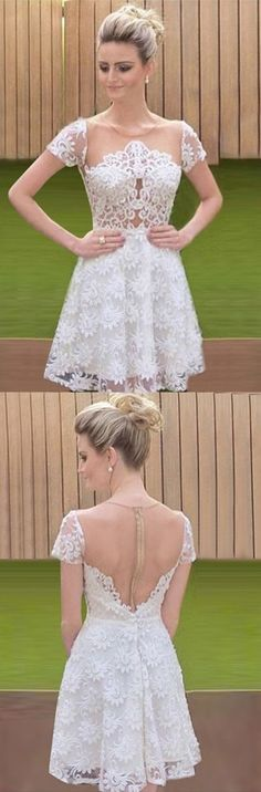 White Round Neck Illusion Back Short Lace Homecoming Dress,186