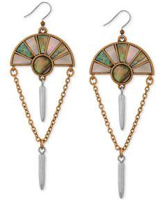 Lucky Brand Two-Tone Abalone-Look Chain Chandelier Earrings