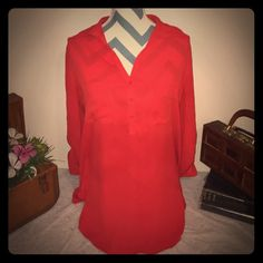 Sexy Red Sheer Blouse Hardly used on purchased from Nordstrom!! I wore these with gold shorts since it is quite long and looked so amazing! Pleione Tops Blouses
