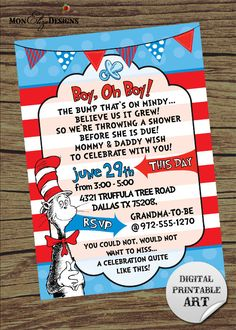 Dr Seuss Inspired Theme It's A Boy Baby Shower by MonElizaDesigns, $2.00 -this would be cute too to register for a bunch of Dr Seuss books and ask the guests to bring and sign one instead of a card