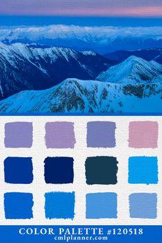 Today's dose of color inspiration is a mountainous color palette featuring Pink, Blue, and Purple colors. Palette Art, Design Palette, Colour Pallette, Colours That Go Together, Colorful Mountains, Indigo Colour, Dose Of Colors, Color Codes, Paint Colors For Home