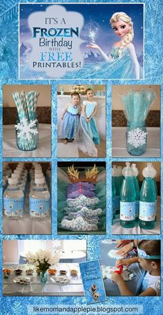 Like Mom And Apple Pie: Frozen Birthday Party and FREE Printables! Frozen Birthday party Ideas for Kids Birthday Elsa Birthday Party, Frozen Bday Party, Frozen Themed Birthday Party, 6th Birthday Parties, Third Birthday, Princess Birthday, Birthday Ideas, Frozen Themed Food, Frozen Party Food