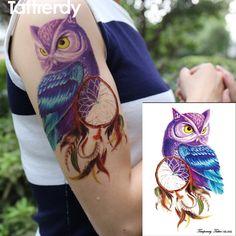 Temporary Tattoo Color Owl dream catcher tattoos Stickers big women's Waterproof On body Arm Animal dreamcatcher Owl Dream Catcher, Dream Catcher Tattoo, Tattoo Uk, Tattoo Kits, Tattoo Ideas, Owl Dreamcatcher Tattoo, Tattoo Prices, Tattoo Machine, Temporary Tattoo