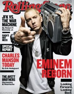 Eminem on the cover of Rolling Stone. via dailymail.co.uk