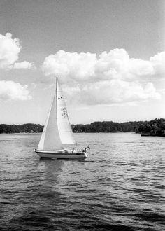 Nautical sweden Photography beach ocean condo art boat lines sailing Sweden Baltic Sea clouds soft black white ship Escape fine art photo
