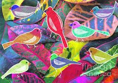 Birds on Croton.  Digital photo and drawing by #CarolineStreet. #birds #croton #garden #colorpop #leaves #artwork #birdart #nature