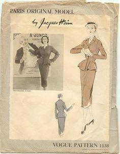 1950's Vogue Paris Original Model Suit Pattern #1138 by Jacques Heim