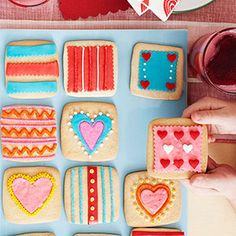 Use square sugar cookies to create Valentine's Day treats.