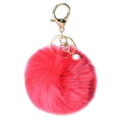 DZT1968 Solid Color Imitate Rabbit Fur Ball Keychain Handbag Key Ring... ($1.79) ❤ liked on Polyvore featuring accessories, ring key chain, fob key chain, key chain rings and keychain key ring