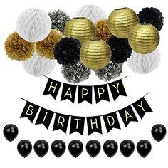 Deko Geburtstag Geburtstag Dekoration Set,Pomisty Happy Birthday Dekoration 40 St/ücks mit 9 Tissue Papier Pom Poms  30 Ballons und 1 Happy Birthday Banner f/ür M/ädchen und Jungen Alters