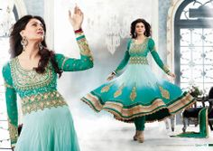 sky blue with green anarkali...