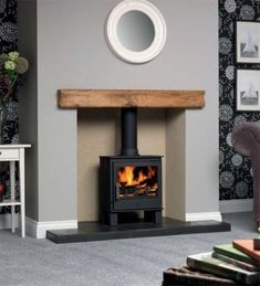 Colour for dining room? With soft furnishings and curtains and rug in colours from the autumn palette ideas log burner ACR Malvern Eco Design Ready Stove Log Burner Living Room, Living Room With Fireplace, New Living Room, Living Room Decor, Dining Room, Wood Burner Fireplace, Fireplace Mantle, Fireplace Ideas, Wood Mantle