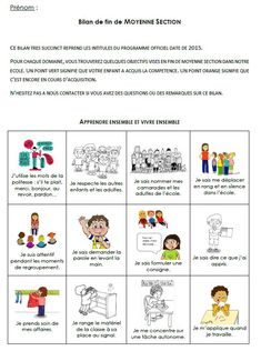 Les évaluations en maternelle Petite Section, Maternelle Grande Section, Kindergarten, Montessori, Cycle, School, Alphabet, French Lessons, End Of Year