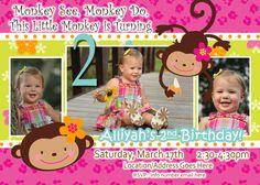monkey birthday theme | Monkey Love invite- Birthday Photo Invite - 1 year old 2 years old ...