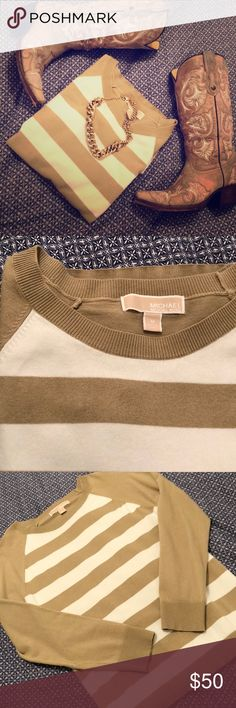 MK Tan Striped Sweater In new condition. Tan and white striped knit sweater from Michael Kors. Crew Neckline, long sleeves.  * No trades, please don't ask. * I do my best to price fairly up front, and while I'm happy to consider reasonable offers, I do not negotiate on or respond to lowballs * MICHAEL Michael Kors Sweaters Crew & Scoop Necks