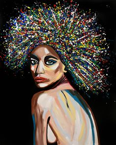 Woman with Colorful Hair on a Black Background Painting Oil on Canvas Upgraded print - Itay Magen Black Background Painting, Black Artwork, Canvas Art Prints, Oil On Canvas, African Art Paintings, Abstract Paintings, Oil Paintings, Look Girl, Black Girl Art