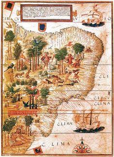 """O reconhecimento do Novo Mundo  Este portulano, Atlas Miller (1519) apresenta os índios ao lado de uma hidra que domina as regiões desconhecidas do interior. As armas de Portugal vigiam este vasto território, e abaixo, um índio sentado sobre os calcanhares, com os braços estendidos, vigia a entrada do Rio da Prata.   A legenda diz: """"Os habitantes tem a pele escura, selvagens e são muito cruéis. eles se alimentam de carne humana. Eles também são hábeis no uso de arcos e flechas.   Neste país…"""