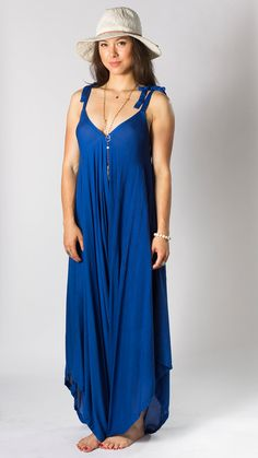 Wide Leg Womens Gypsy Long Jumpsuit Dress in Royal Blue, Summer, Resort, Beach, Swimsuit Cover up, One piece Playsuit, one size fits S-XL