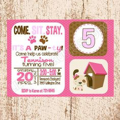 Personalized Girls Puppy Party Dog Party Birthday Invitation - PRINTABLE - YOU PRINT. $8.00, via Etsy.
