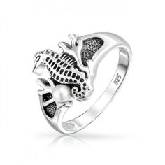 Bling Jewelry Nautical Coral Seahorse Pearl Ring Antique 925 Sterling Silver