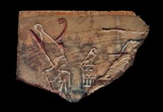 Fragment of an ivory label showing pharaoh Den, wearing the double crown of Upper and Lower Egypt.  Originally from Abydos. @Wikipedia.com