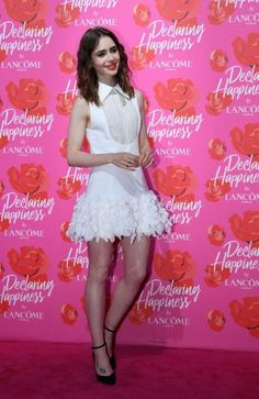 Lily Collins in Georges Chakra Couture at Lancome's Declaring Happiness event in Shanghai on June 21, 2017.