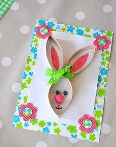 diy card-rabbit-Easter-recup-Creamalice - Ostern - Crafts Home Bunny Crafts, Easter Crafts For Kids, Toddler Crafts, Diy For Kids, Diy And Crafts, Arts And Crafts, Paper Crafts, Easter Art, Easter Bunny