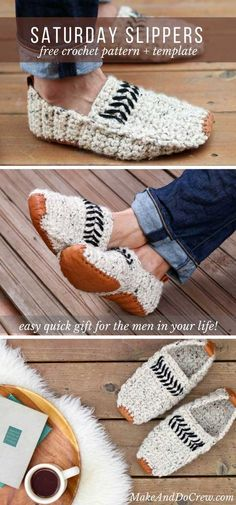 a1b4672db3c8aa Modern Men s Crochet Slippers with Leather Soles - Free Pattern